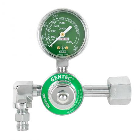 GenTech Flowmeter Regulators Diaphragm-type Regulator without Flowmeter, CGA 540 Inlet, 90 degree elbow 195M-540D Big