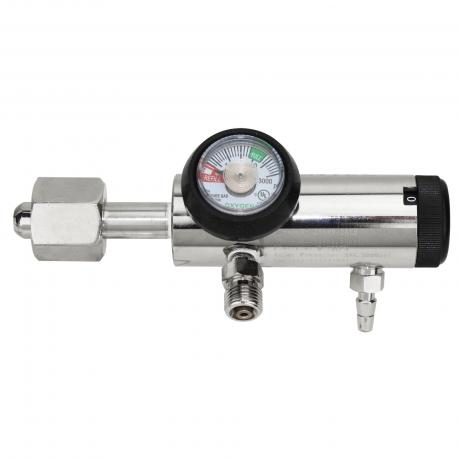 GenTech Click Style Regulator Click-style Oxygen Regulator, 0-25 LPM, w/Hose Barb & 2-DISS 286MB-25LY2
