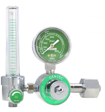 GenTech Flowmeter Regulators Diaphragm-type Regulator with 0-15 LPM Flowmeter, CGA 540 Inlet 195M-15L