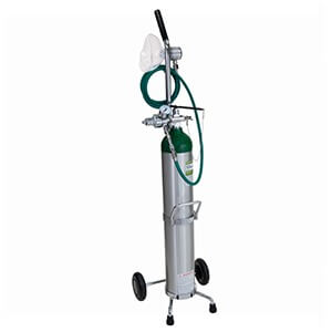 Accutron 38010,Portable Oxygen System – Demand Valve with O2 Q/C Fitting Adult Facemask, Cylinder Wrench, & Cart